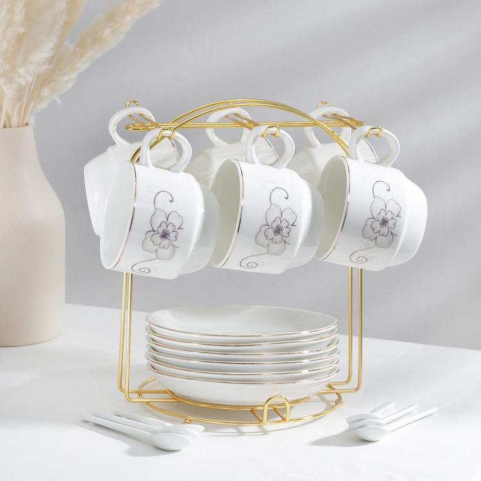 Сервиз чайный «Бланш», 19 предметов: 6 чашек 170 мл, 6 блюдец 13,5 см, 6 ложек, на металлической подставке - фото 985661