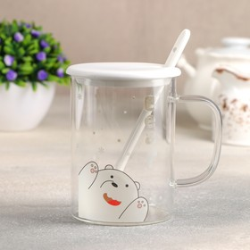 "Ceramic mug with lid and spoon ""Bear"" 450 ml, 12h8,5x11,5, pattern MIX"