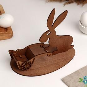 """Подставка """"Пасхальный кролик с тачкой"""" золотая"""