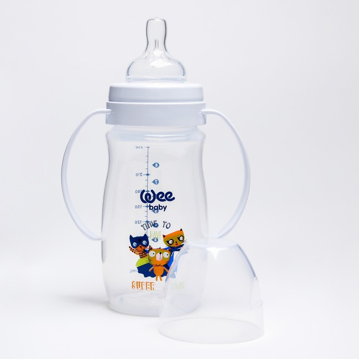 Бутылочка CLASSIC PLUS для кормления с ручками, широкое горло, 250 мл., с силиконовой соской