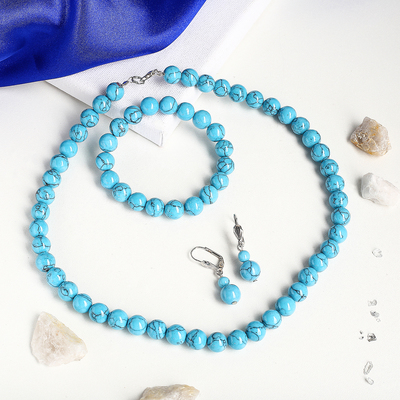 """The set of 3 items: earrings, necklace, bracelet """"Turquoise new"""" ball No. 10"""