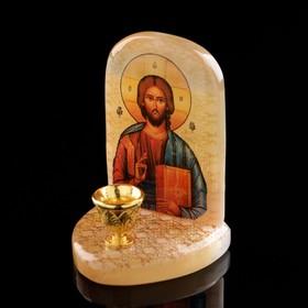 Икона «Иисус Господь Вседержитель», с подсвечником, селенит