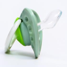 Пустышка с кольцом, классическая, от 0 мес., цвет зеленый