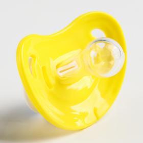 """Пустышка """"Улыбочка"""", классическая, с колпачком от 0 мес., цвет желтый"""