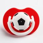 Соска-пустышка ортодонтическая, силикон, от 0 мес., «Футбол», цвет красный - фото 105541357