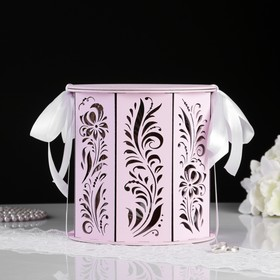 "Семейный банк ""Хохлома"", розовый пастель-белый, 18,5х18,5х19 см"