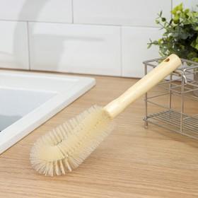 Ёршик для посуды 23,5×7,5×3 см, овал, деревянная ручка