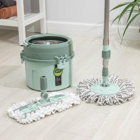 Набор для уборки: ведро с металлической центрифугой 11 л, швабра, запасная насадка из микрофибры