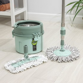Cleaning kit: a bucket with a metal centrifuge, a MOP, extra attachment, MIX color