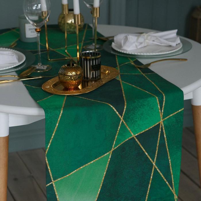 Дорожка на стол «Этель» Изумруд 40х146 см - фото 486613