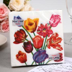 Салфетки бумажные New Line FRESCO «Тюльпаны», 2 слоя, 33*33 см, 20 шт.