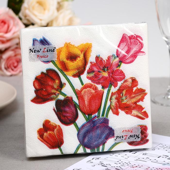 Салфетки  бумажные New Line FRESCO Тюльпаны 2-слоя 20 листов 33*33