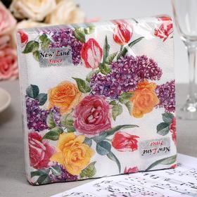 Салфетки бумажные New Line FRESCO «Цветочный орнамент», 2 слоя, 33*33 см, 20 шт.