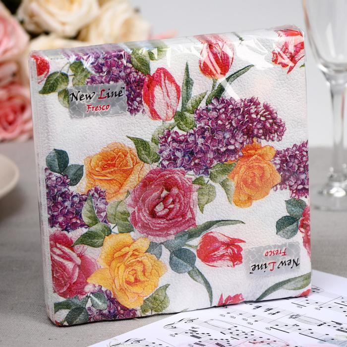 Салфетка  бумажные New Line FRESCO Цветочный орнамент 2-слоя 20 листов 33*33