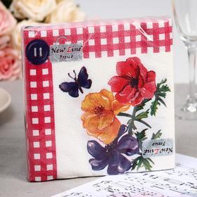 Салфетка  бумажные New Line FRESCO Цветок с пуговкой 2-слоя 20 листов 33*33