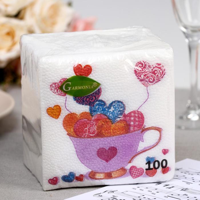 Салфетка  бумажные Гармония цвета многоцветие  Сердечки 100 л