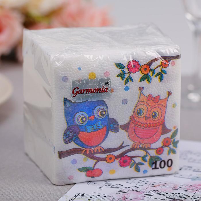 Салфетка  бумажные Гармония цвета многоцветие Совы 100 л