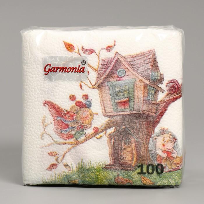 Салфетка бумажные Гармония цвета многоцветие Ежик 100 л