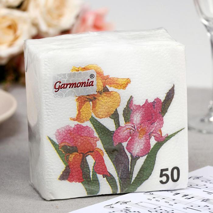 Салфетка бумажные Гармония цвета многоцветие Ирисы 50 л