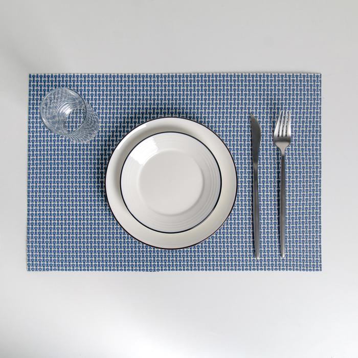 Салфетка кухонная «Плетение», 45×30 см, цвет синий - фото 486637