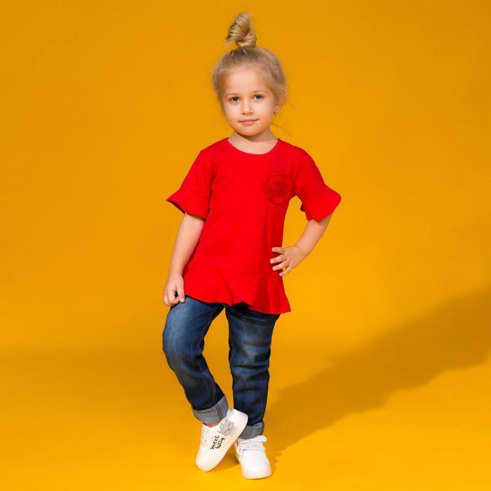 Футболка для девочки «Цветочек», цвет красный, рост 98 см - фото 1931140