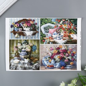 """Decoupage card """"Beautiful bouquets"""" A4, the density of 45g/m2"""