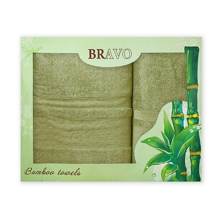 Комплект махровых полотенец «Бамбук ромбы», размер 50 х 90 см - 1 шт, 70 х 140 см - 1 шт, зелёный - фото 7929717