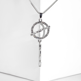 """Pendant """"Date"""" crossed-out circle, colour white silver, L=70"""