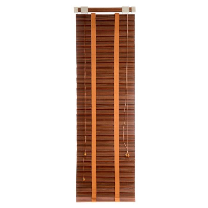 Деревянные жалюзи, размер 70х160 см, цвет зебрано красное