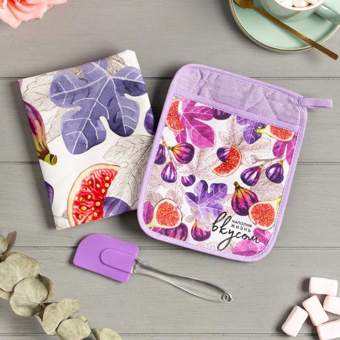 Набор подарочный «Инжир» прихватка-карман, полотенце, лопатка - фото 486767