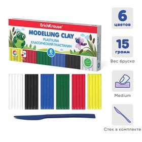 """Пластилин 6 цвета, 90 г, ErichKrause """"Монстрики"""", улучшенная формула, со стеком, в картонной упаковке"""