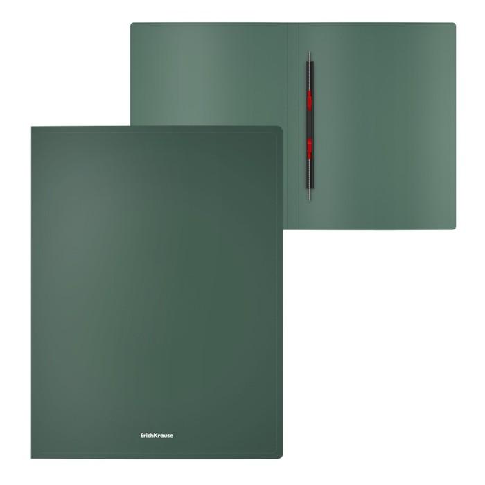 """Папка с пружинным скоросшивателем А4 ErichKrause """"Matt Classic"""", 17 мм, 400 мкм, зеленая"""