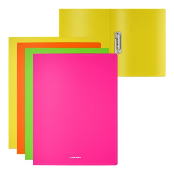 Папка с боковым зажимом А4, ErichKrause. Matt Neon, пластиковая, МИКС