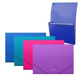 Папка-картотека на резинке A4, 12 отделов ErichKrause. Diagonal Vivid, пластиковая, МИКС