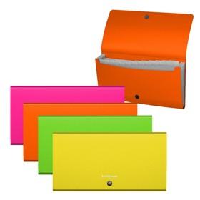 Папка-картотека на кнопке, 12 отделов, ErichKrause. Matt Neon Check size, пластиковая, МИКС