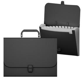Папка-портфель А4, 12 отделений, 600 мкм, ErichKrause Matt Classic, до 350 листов, чёрная