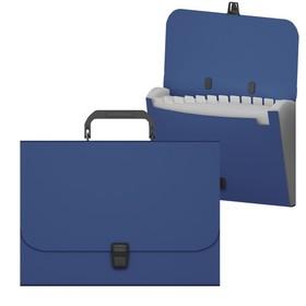 Папка-портфель А4, 12 отделений, 600 мкм, ErichKrause Matt Classic, до 350 листов, синяя