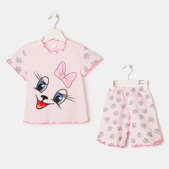 Пижама для девочки «Мяу», цвет розовый, рост 104 см (30)
