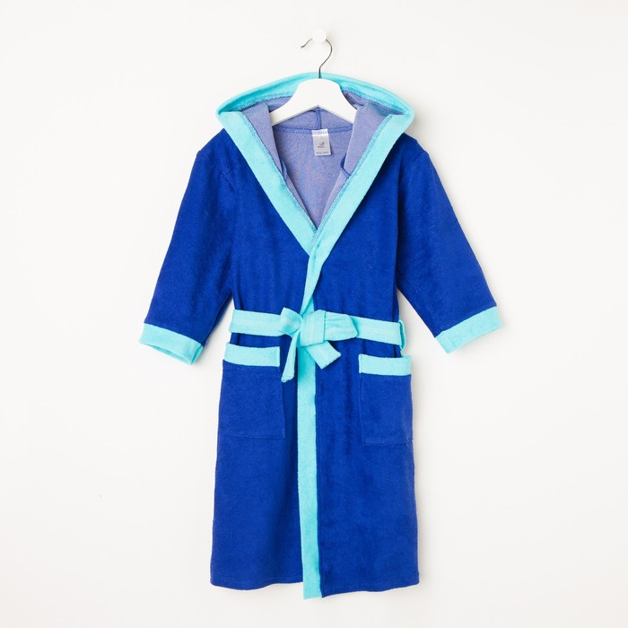 Халат для мальчика «Махра», цвет голубой, рост 110 см (32)