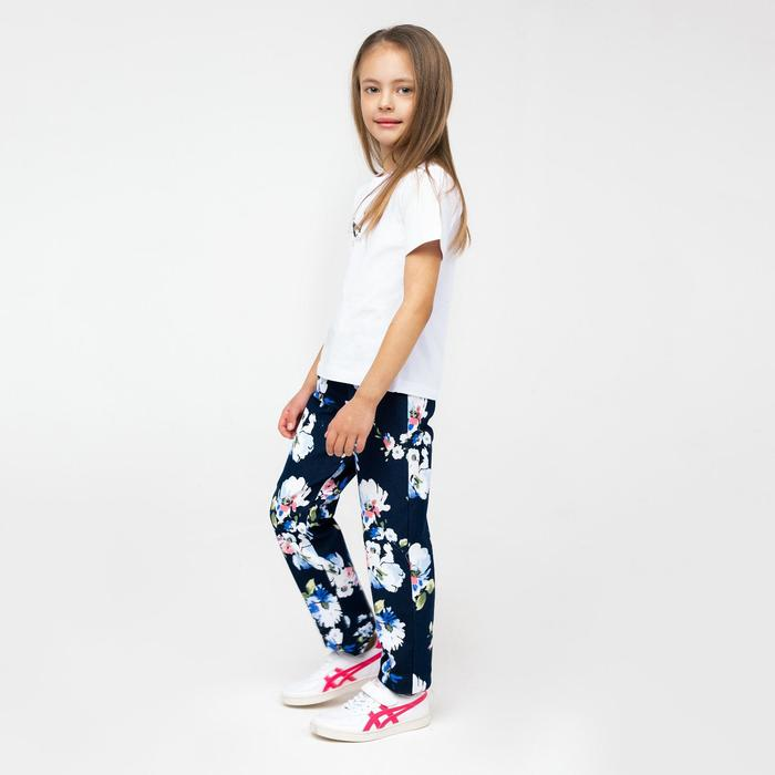 Брюки для девочки «Коттон», цвет тёмно-синий, рост 104 см (30)