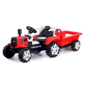 Электромобиль «Трактор», с прицепом, 2 мотора, цвет красный