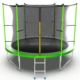 Батут EVO JUMP Internal 10 ft, d=305 см, с внутренней сеткой и лестницей, зелёный