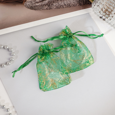 "Gift bag ""floral ornament"" 7*9, color emerald with gold"