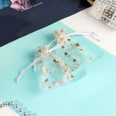 """Pouch gift """"Stars"""" a little 7 x 9, white with gold"""