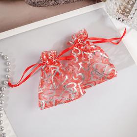 Мешочек подарочный 'Сердечки' крупные 7*9, цвет красный с серебром Ош