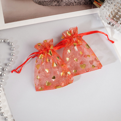 """Gift bag """"Hearts"""" small 7*9, color red with gold"""