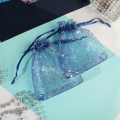 Pouch gift Fiesta 10*12, color blue with silver