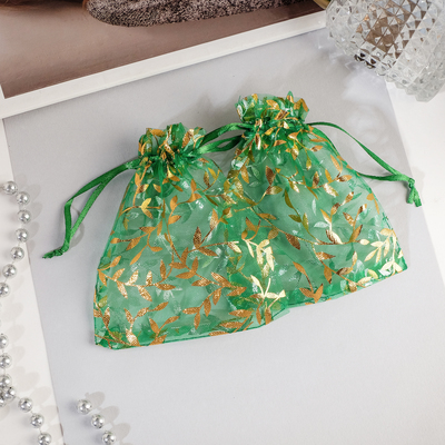 "Pouch gift ""Twigs"" 10*12, color emerald with gold"