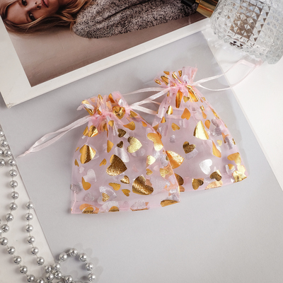 """Gift bag """"Hearts"""" 10*12, color pink with gold"""