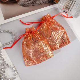Мешочек подарочный 'Леопард' 10*12, цвет красный с золотом Ош